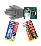 Guantes, adhesivos y sprays